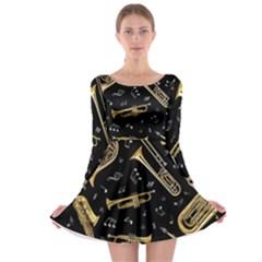 Instrument Saxophone Jazz Long Sleeve Skater Dress