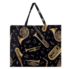 Instrument Saxophone Jazz Zipper Large Tote Bag