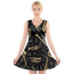 Instrument Saxophone Jazz V-Neck Sleeveless Skater Dress