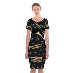 Instrument Saxophone Jazz Classic Short Sleeve Midi Dress