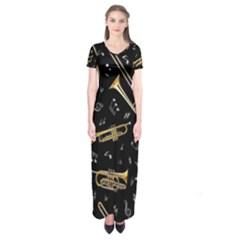 Instrument Saxophone Jazz Short Sleeve Maxi Dress