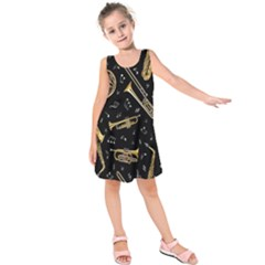 Instrument Saxophone Jazz Kids  Sleeveless Dress