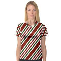 Line Christmas Stripes Women s V-Neck Sport Mesh Tee