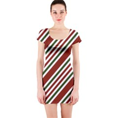 Line Christmas Stripes Short Sleeve Bodycon Dress