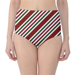 Line Christmas Stripes High-Waist Bikini Bottoms