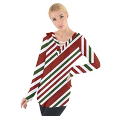 Line Christmas Stripes Women s Tie Up Tee
