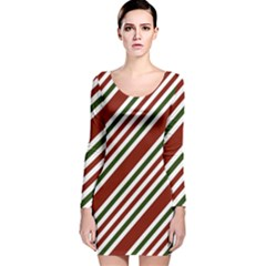 Line Christmas Stripes Long Sleeve Velvet Bodycon Dress