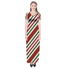 Line Christmas Stripes Short Sleeve Maxi Dress