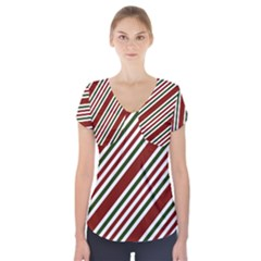 Line Christmas Stripes Short Sleeve Front Detail Top