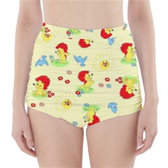 Lion Animals Sun High Waisted Bikini Bottoms