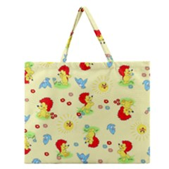 Lion Animals Sun Zipper Large Tote Bag