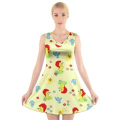 Lion Animals Sun V-Neck Sleeveless Skater Dress
