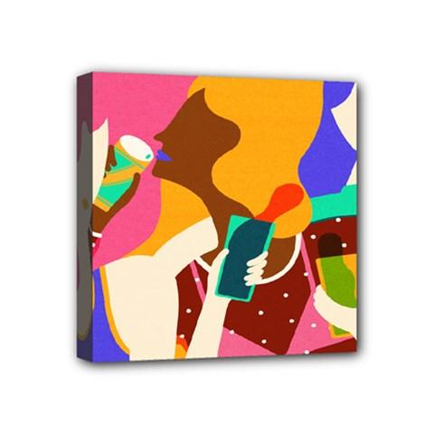 Girl Colorful Copy Mini Canvas 4  x 4