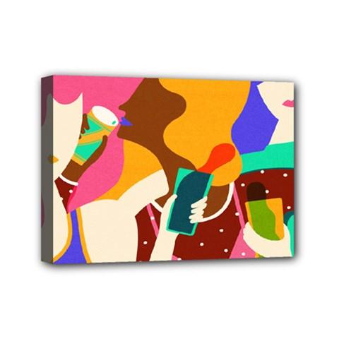 Girl Colorful Copy Mini Canvas 7  x 5