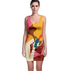Girl Colorful Copy Sleeveless Bodycon Dress