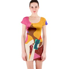 Girl Colorful Copy Short Sleeve Bodycon Dress