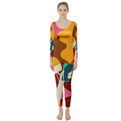 Girl Colorful Copy Long Sleeve Catsuit