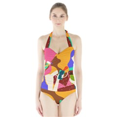 Girl Colorful Copy Halter Swimsuit