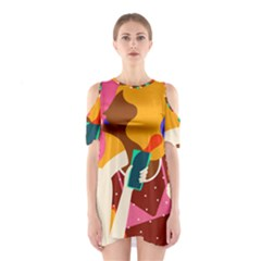 Girl Colorful Copy Cutout Shoulder Dress