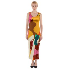 Girl Colorful Copy Fitted Maxi Dress