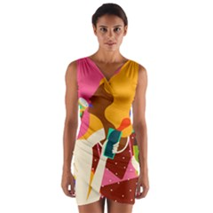 Girl Colorful Copy Wrap Front Bodycon Dress