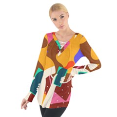 Girl Colorful Copy Women s Tie Up Tee