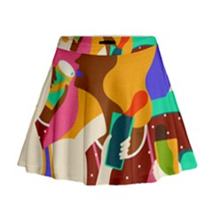 Girl Colorful Copy Mini Flare Skirt
