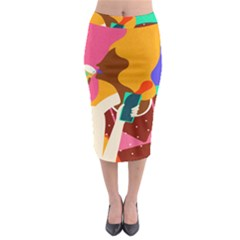 Girl Colorful Copy Midi Pencil Skirt
