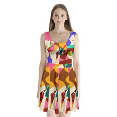 Girl Colorful Copy Split Back Mini Dress