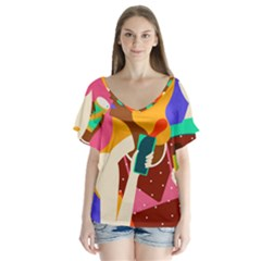 Girl Colorful Copy Flutter Sleeve Top