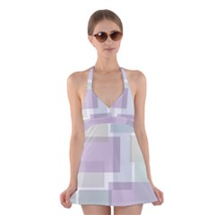 Abstract Background Pattern Design Halter Swimsuit Dress