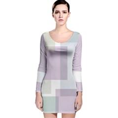 Abstract Background Pattern Design Long Sleeve Velvet Bodycon Dress