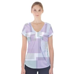 Abstract Background Pattern Design Short Sleeve Front Detail Top
