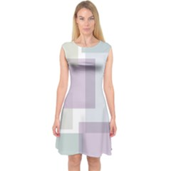 Abstract Background Pattern Design Capsleeve Midi Dress