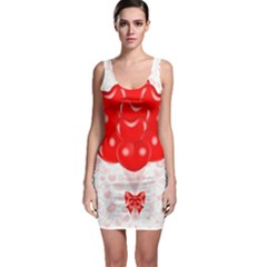 Abstract Background Balloon Sleeveless Bodycon Dress