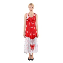 Abstract Background Balloon Sleeveless Maxi Dress