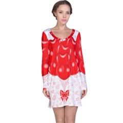 Abstract Background Balloon Long Sleeve Nightdress