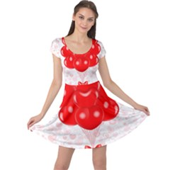 Abstract Background Balloon Cap Sleeve Dresses