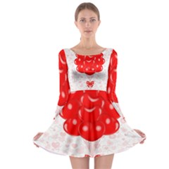 Abstract Background Balloon Long Sleeve Skater Dress