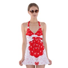Abstract Background Balloon Halter Swimsuit Dress