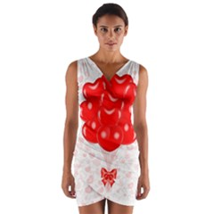 Abstract Background Balloon Wrap Front Bodycon Dress