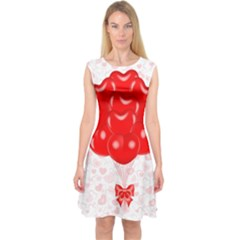 Abstract Background Balloon Capsleeve Midi Dress