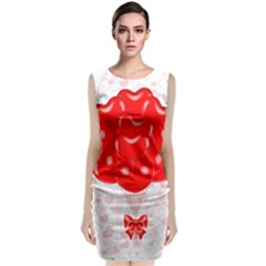 Abstract Background Balloon Sleeveless Velvet Midi Dress