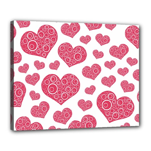 Heart Love Pink Back Canvas 20  x 16