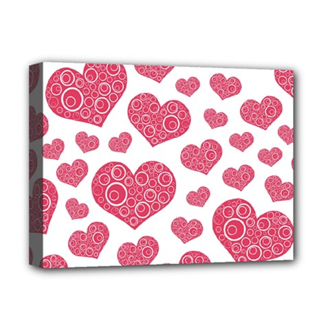 Heart Love Pink Back Deluxe Canvas 16  x 12