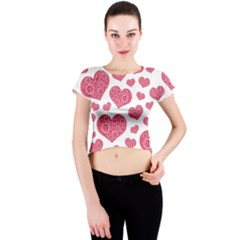 Heart Love Pink Back Crew Neck Crop Top