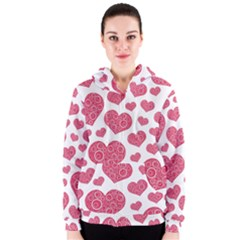 Heart Love Pink Back Women s Zipper Hoodie