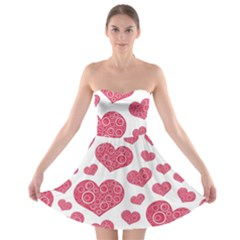 Heart Love Pink Back Strapless Bra Top Dress