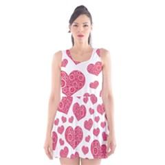 Heart Love Pink Back Scoop Neck Skater Dress