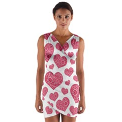Heart Love Pink Back Wrap Front Bodycon Dress